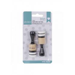 Mini Aplicador tintas redondo pack de 2 + 4 almohadillas