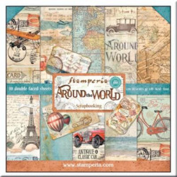 kit de Papeles Scrap Around the World Stamperia 30 x30