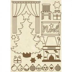 Apliques de madera Stamperia A5 Christmas Home