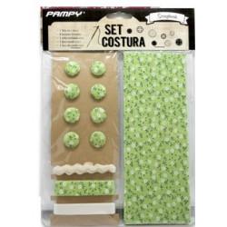 Set de Tela y accesorios para scrapbooking Verde