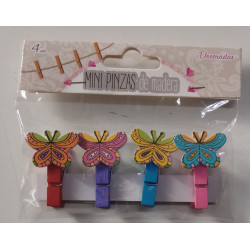 Mini pinzas de madera decoradas mariposas