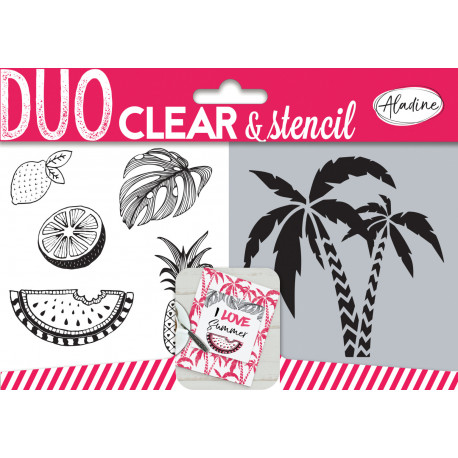 Aladine Duo Clear Stamps & Stencil Cactus