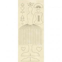 Apliques de madera Stamperia Manenequin 12.5x30