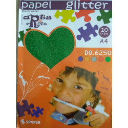 Stack Papel Glitter A-4 (10 hojas)